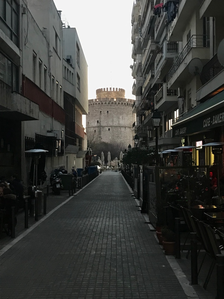 The White Tower from a side street line with life